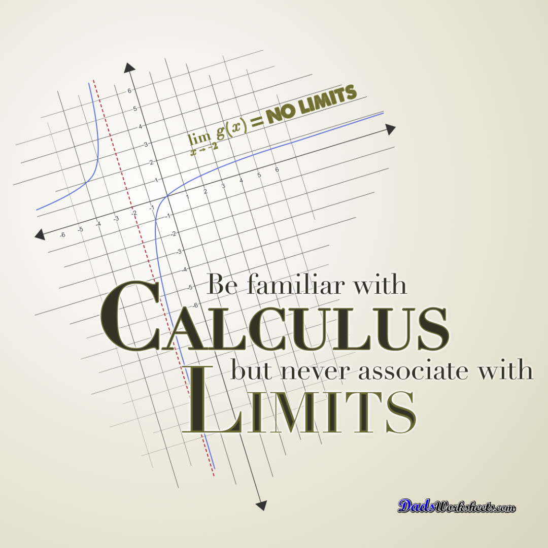 Be familiar with calculus, but never associate with limits!