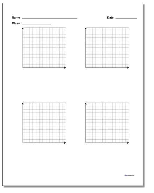 Four Problem Quadrant 1 Worksheet Paper www.dadsworksheets.com/printables/coordinate-plane.html
