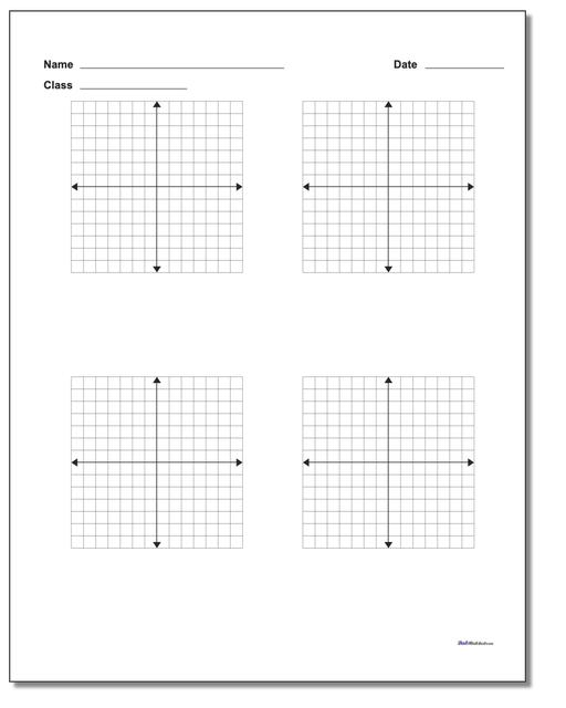 Four Problem Coordinate Plane Worksheet Paper www.dadsworksheets.com/printables/coordinate-plane.html