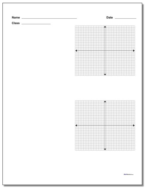 Two Problem Coordinate Plane Worksheet Paper