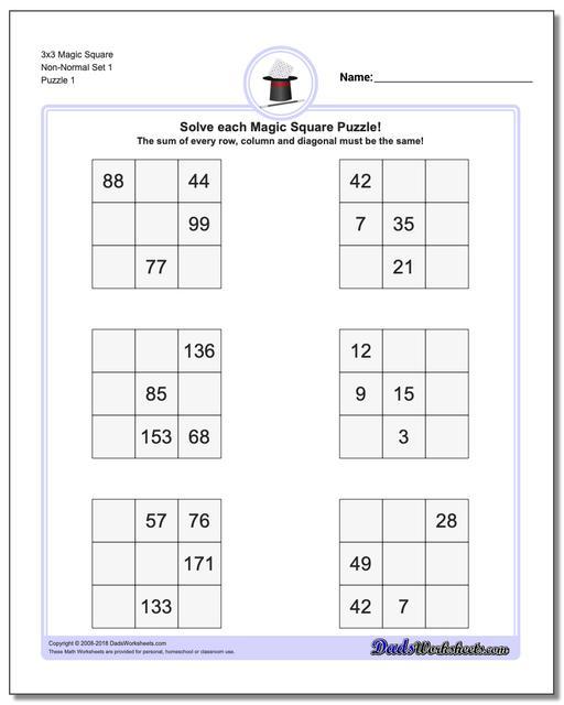Magic Square Puzzle 3x3 Non-Normal Set 1