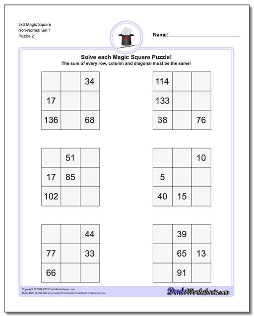 3x3 Magic Square Non-Normal Set 1 www.dadsworksheets.com/puzzles/magic-square.html Worksheet