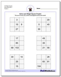 3x3 Magic Square Non-Normal Set 1 Worksheet #Magic #Square #Worksheet