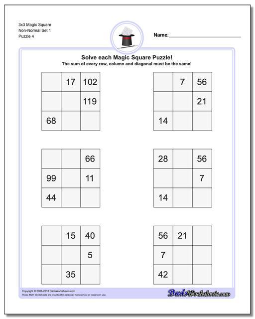 3x3 Magic Square Non-Normal Set 1 Worksheet