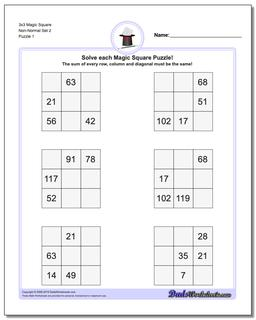 Magic Square Puzzle 3x3 Non-Normal Set 2