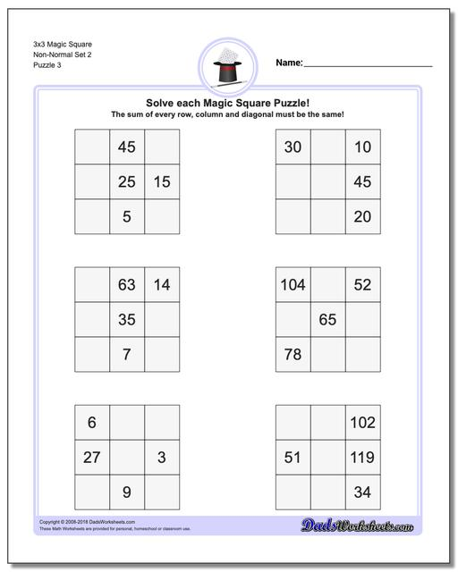 3x3 Magic Square Non-Normal Set 2 Worksheet