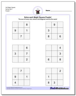 Magic Square 3x3 Worksheet