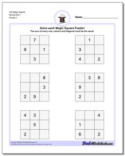 3x3 Magic Square Normal Set 1 Worksheet #Magic #Square #Worksheet