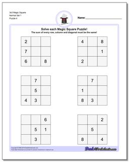3x3 Magic Square Normal Set 1 Worksheet #Magic #Square #Worksheet