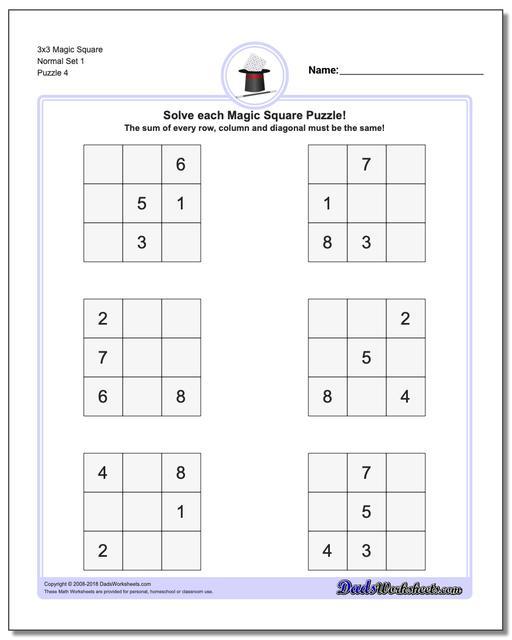 3x3 Magic Square Normal Set 1 Worksheet