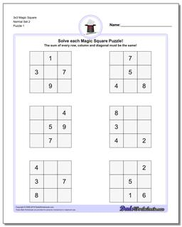 3x3 Magic Square Normal Set 2 Worksheet #Magic #Square #Worksheet