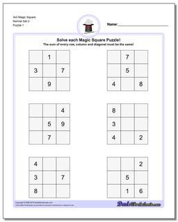 Magic Square Puzzle 3x3 Normal Set 2