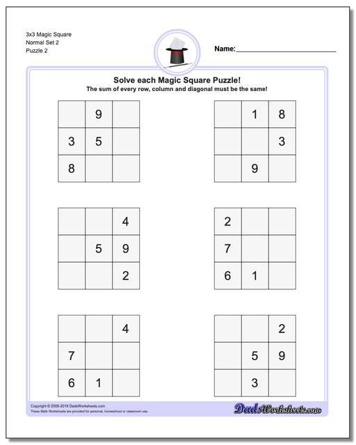 3x3 Magic Square Normal Set 2 www.dadsworksheets.com/puzzles/magic-square.html Worksheet