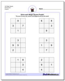 3x3 Magic Square Normal Set 2 Worksheet