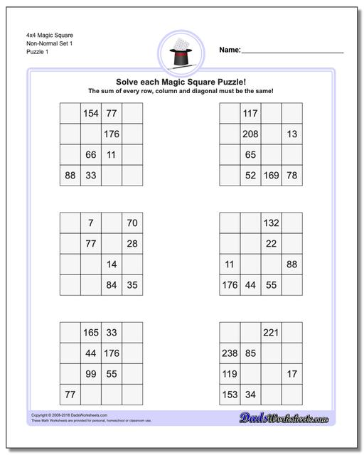 Magic Square Puzzle 4x4 Non-Normal Set 1