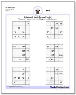 4x4 Magic Square Non-Normal Set 1 Worksheet #Magic #Square #Worksheet