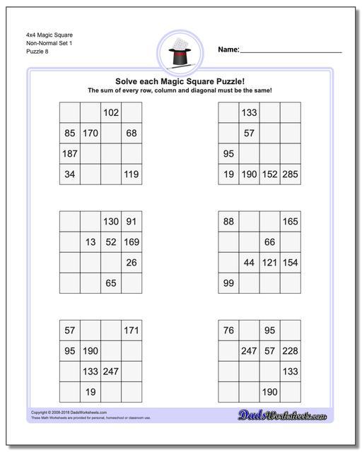 4x4 Magic Square Non-Normal Set 1 Worksheet