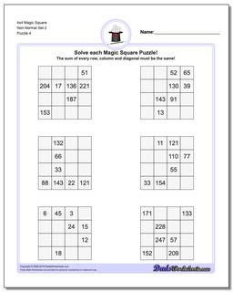 4x4 Magic Square Non-Normal Set 2 Worksheet #Magic #Square #Worksheet