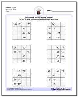 4x4 Magic Square Non-Normal Set 2 Worksheet #Magic #Square #Worksheet