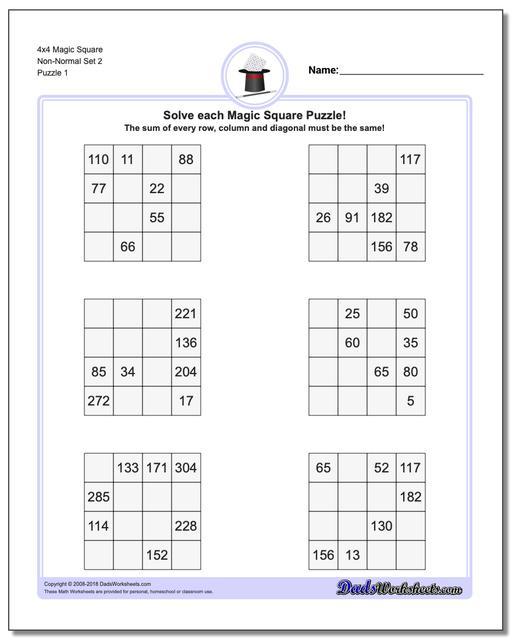 Magic Square Puzzle 4x4 Non-Normal Set 2