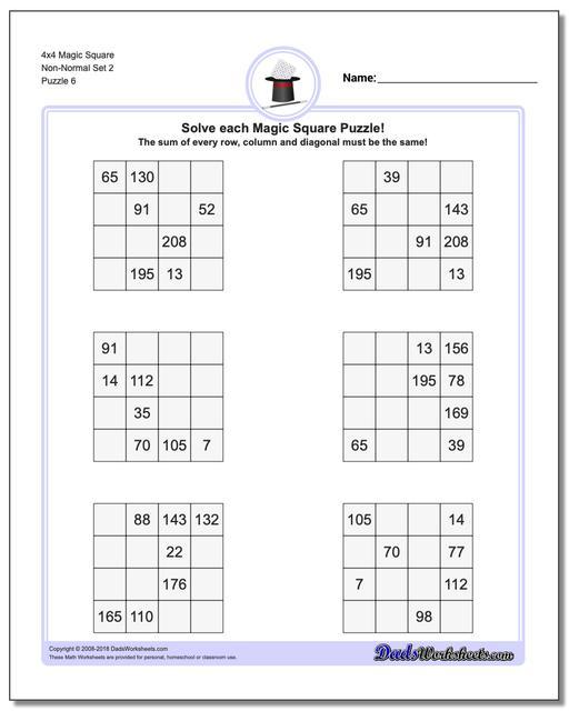 4x4 Magic Square Non-Normal Set 2 Worksheet