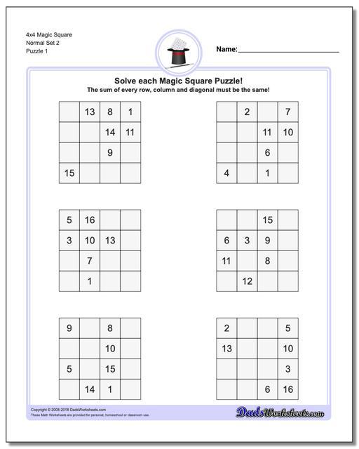 Magic Square Puzzle 4x4 Normal Set 2