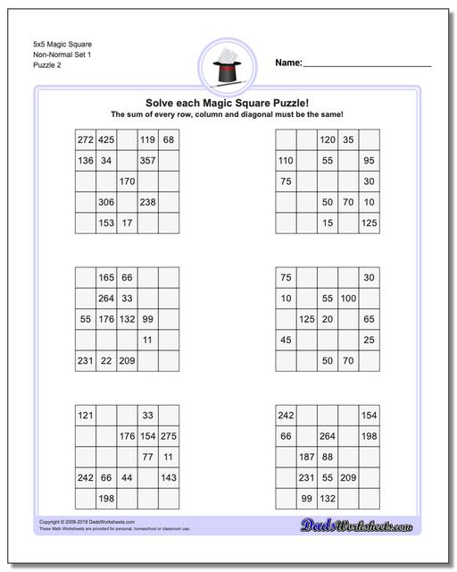 5x5 Magic Square Non-Normal Set 1 www.dadsworksheets.com/puzzles/magic-square.html Worksheet