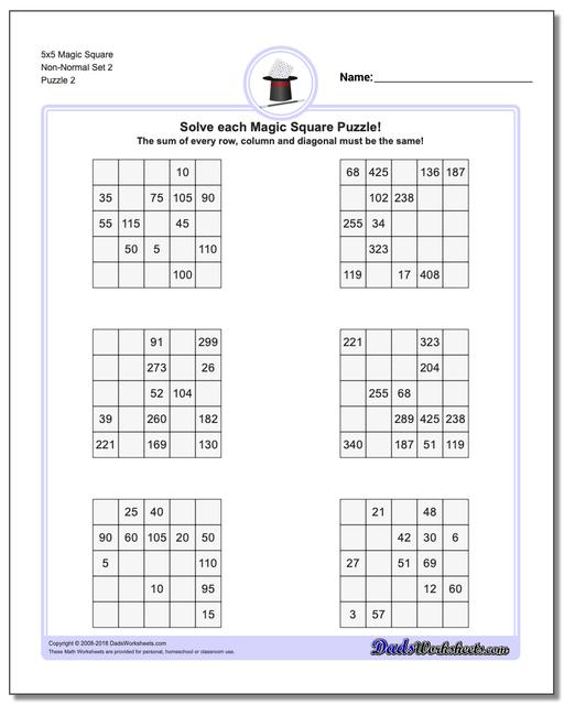5x5 Magic Square Non-Normal Set 2 www.dadsworksheets.com/puzzles/magic-square.html Worksheet
