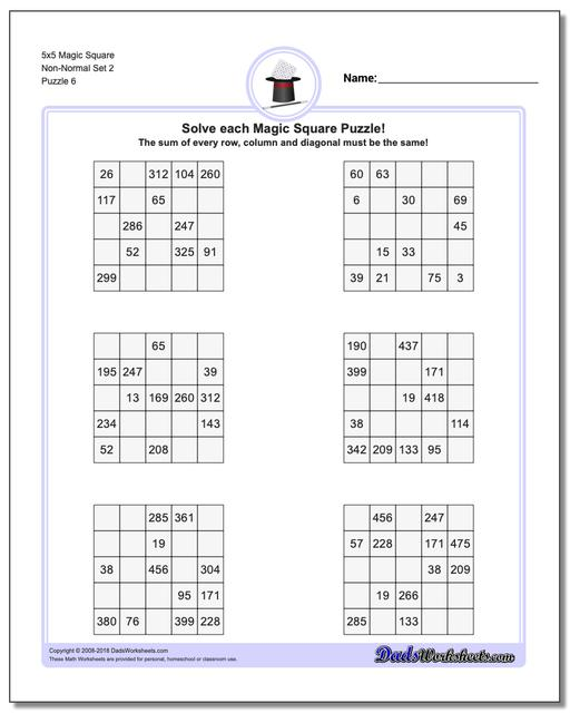 5x5 Magic Square Non-Normal Set 2 Worksheet