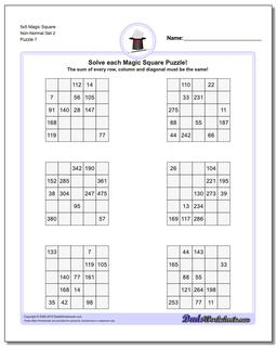 5x5 Magic Square Non-Normal Set 2 Worksheet #Magic #Square #Worksheet