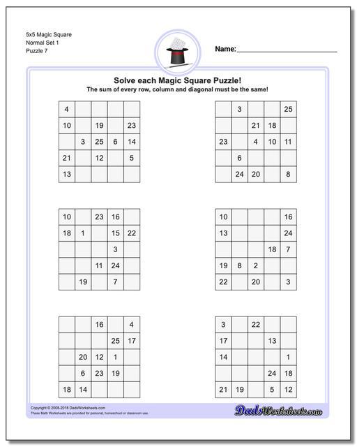 5x5 Magic Square Normal Set 1 Worksheet