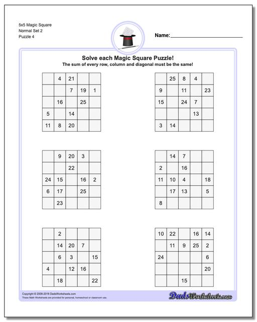 5x5 Magic Square Normal Set 2 Worksheet