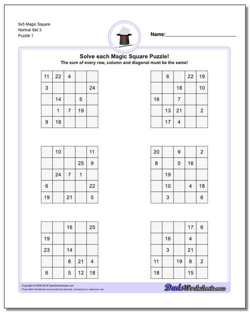 Magic Square Puzzle 5x5 Normal Set 3