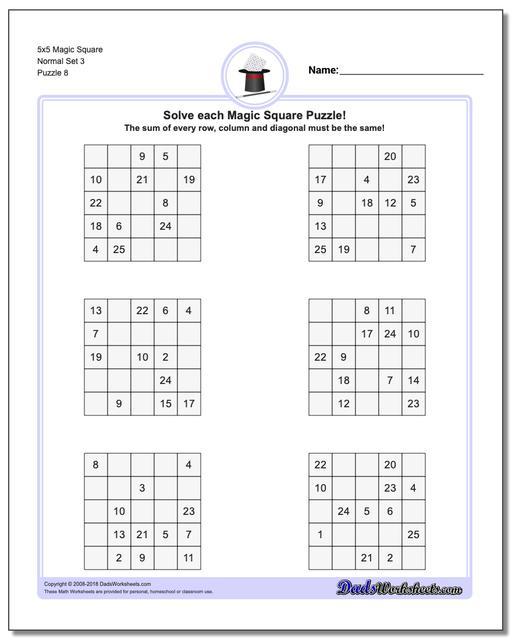 5x5 Magic Square Normal Set 3 Worksheet