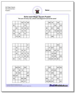 6x6 Magic Square Non-Normal Set 2 Worksheet #Magic #Square #Worksheet