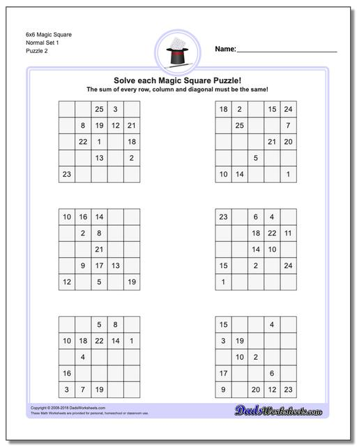 6x6 Magic Square Normal Set 1 www.dadsworksheets.com/puzzles/magic-square.html Worksheet