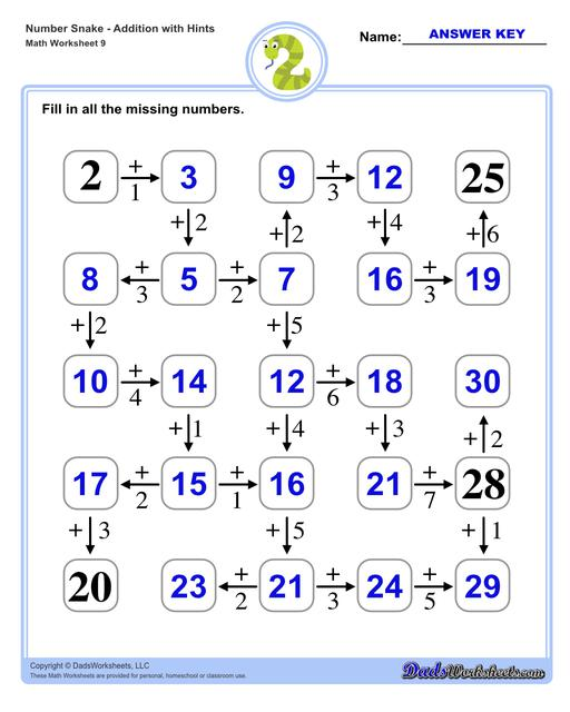 Math number snake puzzles, where kids solve simple arithmetic problems to follow the winding path to the final answer. Number Snake Addition With Hints
