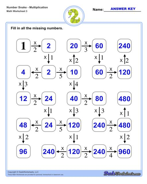 Math number snake puzzles, where kids solve simple arithmetic problems to follow the winding path to the final answer. Number Snake Multiplication