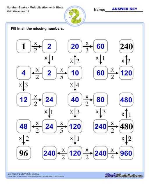 Math number snake puzzles, where kids solve simple arithmetic problems to follow the winding path to the final answer. Number Snake Multiplication With Hints