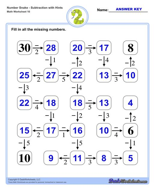 Math number snake puzzles, where kids solve simple arithmetic problems to follow the winding path to the final answer. Number Snake Subtraction With Hints