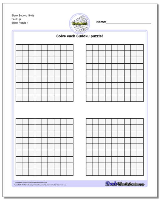 worksheet Printable Grids blank sudoku printable puzzle grids four up