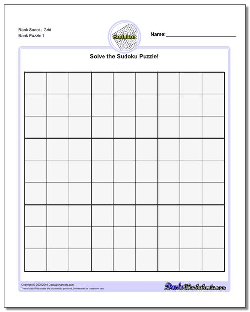 Sudoku Blank Worksheets