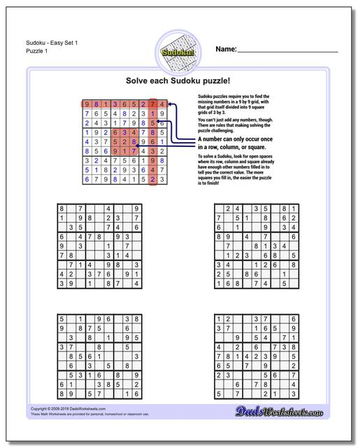 graphic relating to Printable Sudoku for Kids named Sudoku