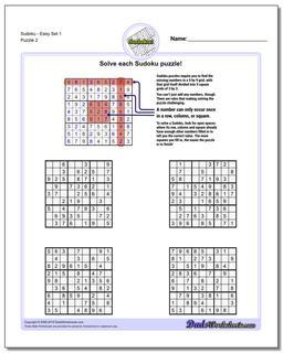 SudokuEasy Set 1 Worksheet #Sudoku #Worksheet