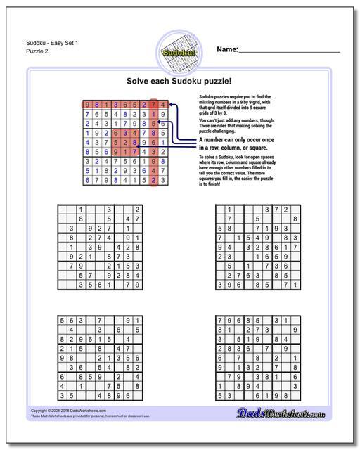 SudokuEasy Set 1 www.dadsworksheets.com/puzzles/sudoku.html Worksheet