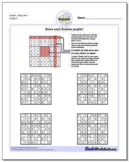 SudokuEasy Set 1 Worksheet