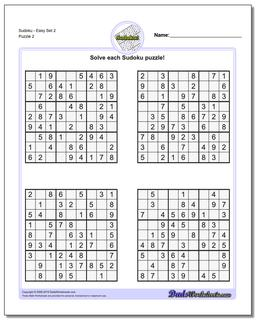 SudokuEasy Set 2 Worksheet #Sudoku #Worksheet