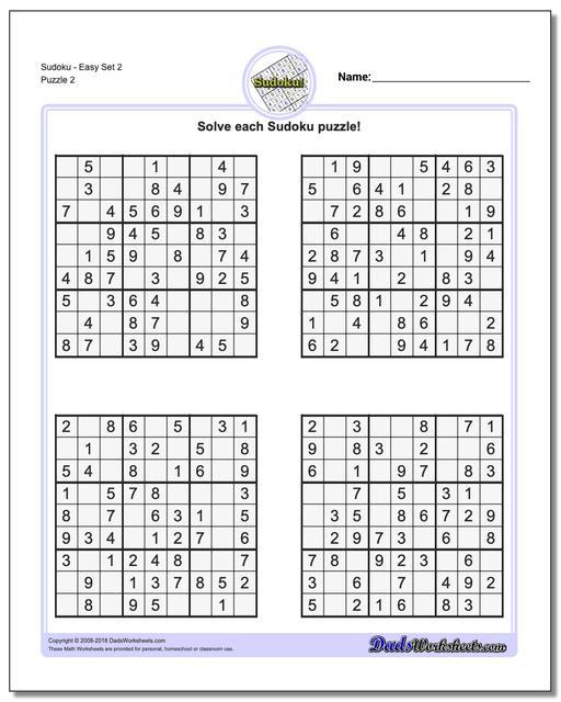 SudokuEasy Set 2 www.dadsworksheets.com/puzzles/sudoku.html Worksheet