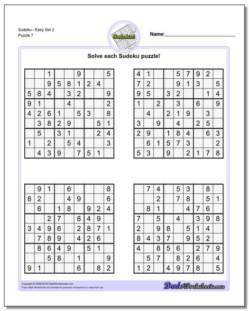 SudokuEasy Set 2 Worksheet