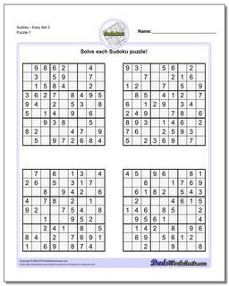 SudokuEasy Set 3 Worksheet #Sudoku #Worksheet